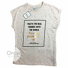 Primark Official DISNEY WALT DISNEY QUOTE Too Many People Grow Up T Shirt