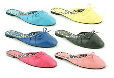 LADIES WOMENS SLIP ON SLIDER BOW MULES PUMPS SHOES BEACH SANDALS FLIP FLOPS SIZE