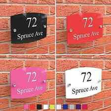 House Plaque Sign Door Number Vibrant Effect Coloured Acrylic Name Road Display