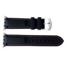 Mens Sport Waterproof 38/42mm Silicone Rubber Strap Black For iWatch Apple Watch