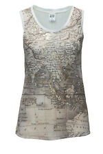 NEU Vero Moda Damen Tank Top T-Shirt Women Map Shirt Snow White/Print SALE 50 %
