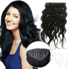 7 Clip Haarteil Clip In Extensions 50 cm Remy Echthaar Halbperücke + 10 Clips