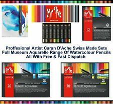 Caran Dache Museum Aquarelle Soft Watercolour Pencil Sketching Artist Colour Set