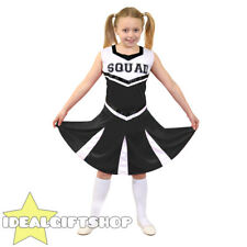 GIRLS HIGH SCHOOL BLACK CHEERLEADER CHILD'S FANCY DRESS COSTUME UNIFORM OUTFIT