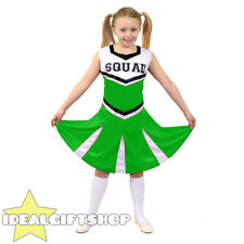 GIRLS HIGH SCHOOL GREEN CHEERLEADER CHILD'S FANCY DRESS COSTUME UNIFORM OUTFIT