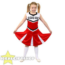 GIRLS HIGH SCHOOL RED CHEERLEADER CHILD'S FANCY DRESS COSTUME UNIFORM OUTFIT