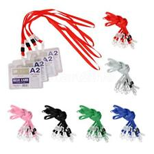 10 xPolyester Lanyard ID Badge Holder Case Neck Strap Plastic Clasp 6 Color Pick