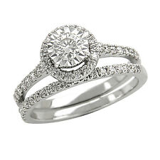 1.60CT Round Cubic Zirconia Bridal Set Ring In 925 Sterling Silver Free Size