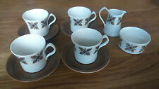 Retro Burleigh Ware Ironstone Cups (4), Saucers (4), Milk Jug and Sugar Bowl 60s
