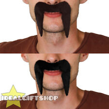 4X BLACK BROWN 1960'S 1970'S MOUSTACHE TASH HIPPIE COWBOY FANCY DRESS STICK ON
