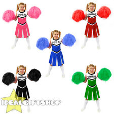 CHILD'S CHEERLEADER FANCY DRESS COSTUME WITH POM POMS BLACK BLUE GREEN PINK RED