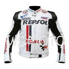 HONDA REPSOL WHITE MOTORCYCLE MOTOGP  LEATHER JACKET 100% COWHIDE LEATHER