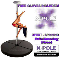 X-Pole SPINNING XPERT Chrome 40mm Professional Dance Pole & Crash Mat Packages