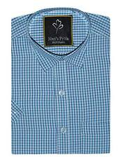 Blue Checks Blended Cotton casual half hand shirt for Mens