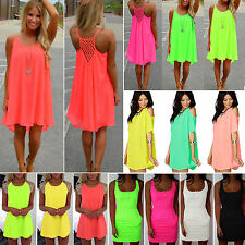 Sexy Womens Neon Color Evening Party Beach Sundress Summer Casual Mini Dress New