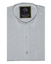 White Printed Dotted Cotton Casual Half Hand Shirt for Mens