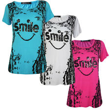 Ladies Womens Sequin Embellished  Smile Summer Casual Top T Shirt Short Sleeve