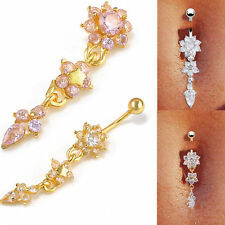 US-Beauty Crystal Flower Dangle Navel Belly Button Ring Bar Body Piercing Jewelr