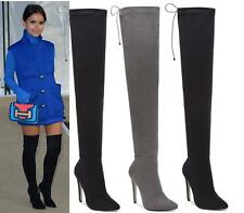 Womens Over The Knee Thigh High Stiletto Heel Ladies Stretch Fuax Suede Boots Si