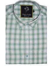 White and Green Blended Cotton CHECK Full Sleeve Casual Shirt for Mens