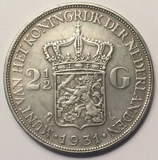 1931 Netherlands 2 1/2 (2 and a half) Gulden coin