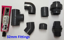 32mm PVC Pipe Solvent Weld and Fittings; Tee, Elbow, Socket, Joiner, Cap etc.
