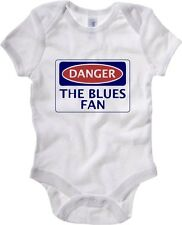Body neonato WC0313 DANGER THE BLUES FAN, FOOTBALL FUNNY FAKE SAFETY SIGN