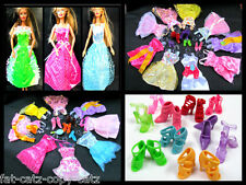 BARBIE DOLL SIZED 10x LONG or SHORT DRESSES CLOTHING SHOES HANGER BAG 20+ ITEMS