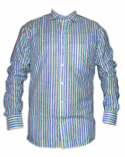 Blue and cyan Striped Casual Cotton Mixed Shirt for Mens
