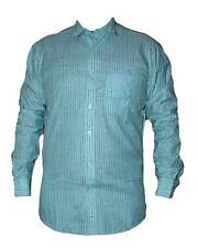 Cyan with Black Striped Casual Cotton Mixed Shirt for Mens