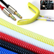 3.5mm Stereo Jack to Jack Audio Cable Gold 1m - Spiral Headphone/Aux/iPod Lead