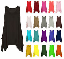 WOMENS ASYMMETRIC HANKY TOP GATHERED RUSHED VEST TOP TUNIC FLARED PLUS SIZE 8-26