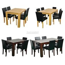 WestWood Wooden Dining Table and 4 Or 6 PU Faux Leather Chairs Set Furniture