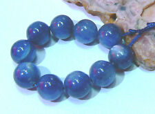 10 RARE NATURAL TOP GRADE CATS EYE BLUE KYANITE ROUND BEADS 9mm