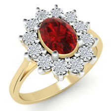 1.00 Ct Ruby & Certified Natural Diamond Cluster Engagement Ring 14k Yellow Gold