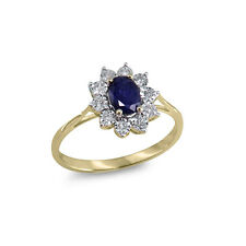 1.10 Ct Sapphire & Certified Natural Diamond Cluster Engagement Ring 18k Gold