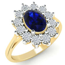 1.00 Ct Sapphire & Certified Natural Diamond Cluster Engagement Ring 14k Gold