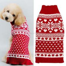Small Pet Dog Puppy Cat Warm Snowflake Sweater Clothes Knit Coat Winter Apparel