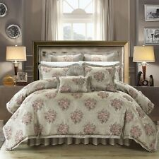 JACQUARD FLORAL 9 PIECE COMFORTER SET / BED IN A BAG - King / Queen - 3 COLORS