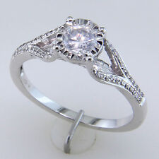 Marvellous Shiny Cubic Zirconia Diamond Solitaire Ring In 925 Sterling Silver