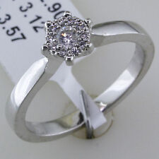 Shiny 925 Sterling Silver Cubic Zirconia Diamond Solitaire Engagement Ring