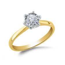 Solitaire Ring Diamond Look Ring 14K Hallmark Yellow Gold Ring