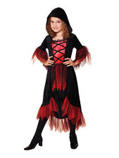 Child Gothic Vampiress Vampire Girl Fancy Dress Kids Halloween Costume Ages 3-10