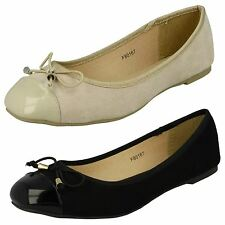 Ladies Spot On Flat Ballerina Shoes Style - F80167 - D