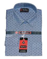 Blue Dotted Casual Blended Cotton shirt for Mens