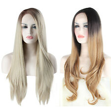 """22"""" Women Ombre Brown Blonde Synthetic Lace Front Wigs Long Wavy Hair Party Cap"""