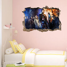 DC Legends of tomorrow in Wall Crack SuperHeroes Kids Bedroom Decal Sticker Gift
