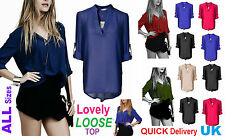 HOT Womens Ladies V-neck Chiffon Long Sleeve Casual Loose Tops T-Shirt Blouse Cs