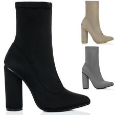 Womens Pointed Toe Cylinder Heel Ankle Boots Shoes