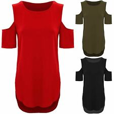 Ladies Short Sleeve Cut Out Cold Shoulder High Low Split Hem Crepe T-Shirt Top